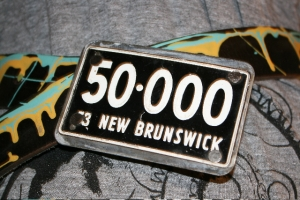 New Brunswick retro license plate belt buckle- SIGNED by Michele!